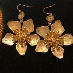 Jessica Simpson Gold/Silver Flower Earrings